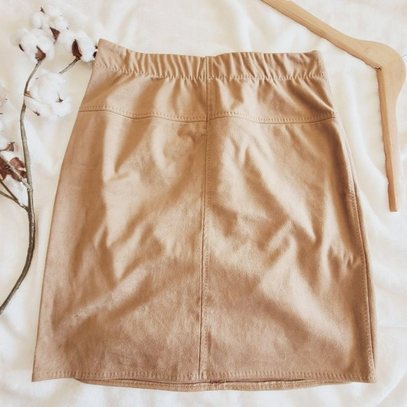 Max Studio Faux Suede Tan High Waist Mini Skirt M